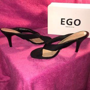 Ego Fran Flip Flop Heel in Black Lycra